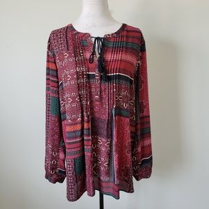 Red Long Sleeve Patchwork Peasant Blouse Womens XL